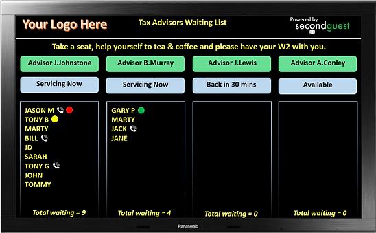 Image of Big Board waitlist display