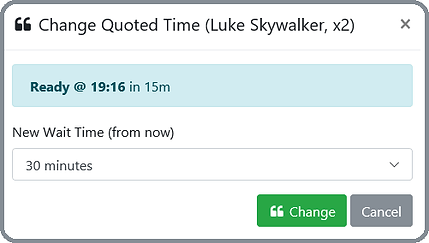 Screenshot of Guest wait time being changed