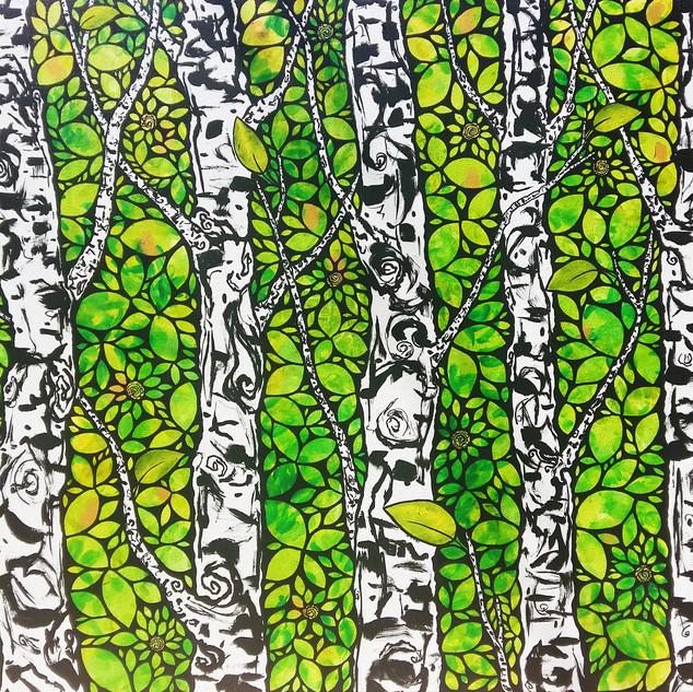Birch Forest Golden Spiral