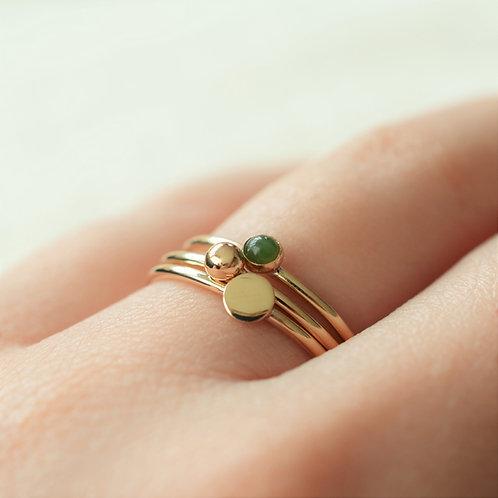 Ponamu + Gold Ring Set