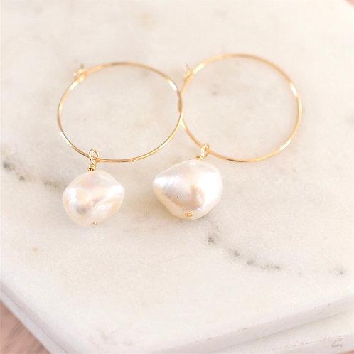 Keshi large pearl hoops
