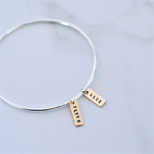 GOLD NAME TAGS BANGLE
