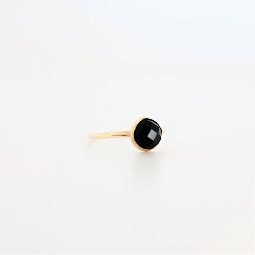 ROSE CUT ONYX RING - gold or silver