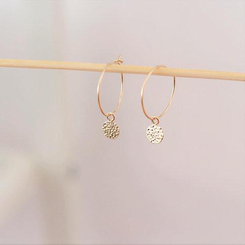 Small Pebble charm hoops