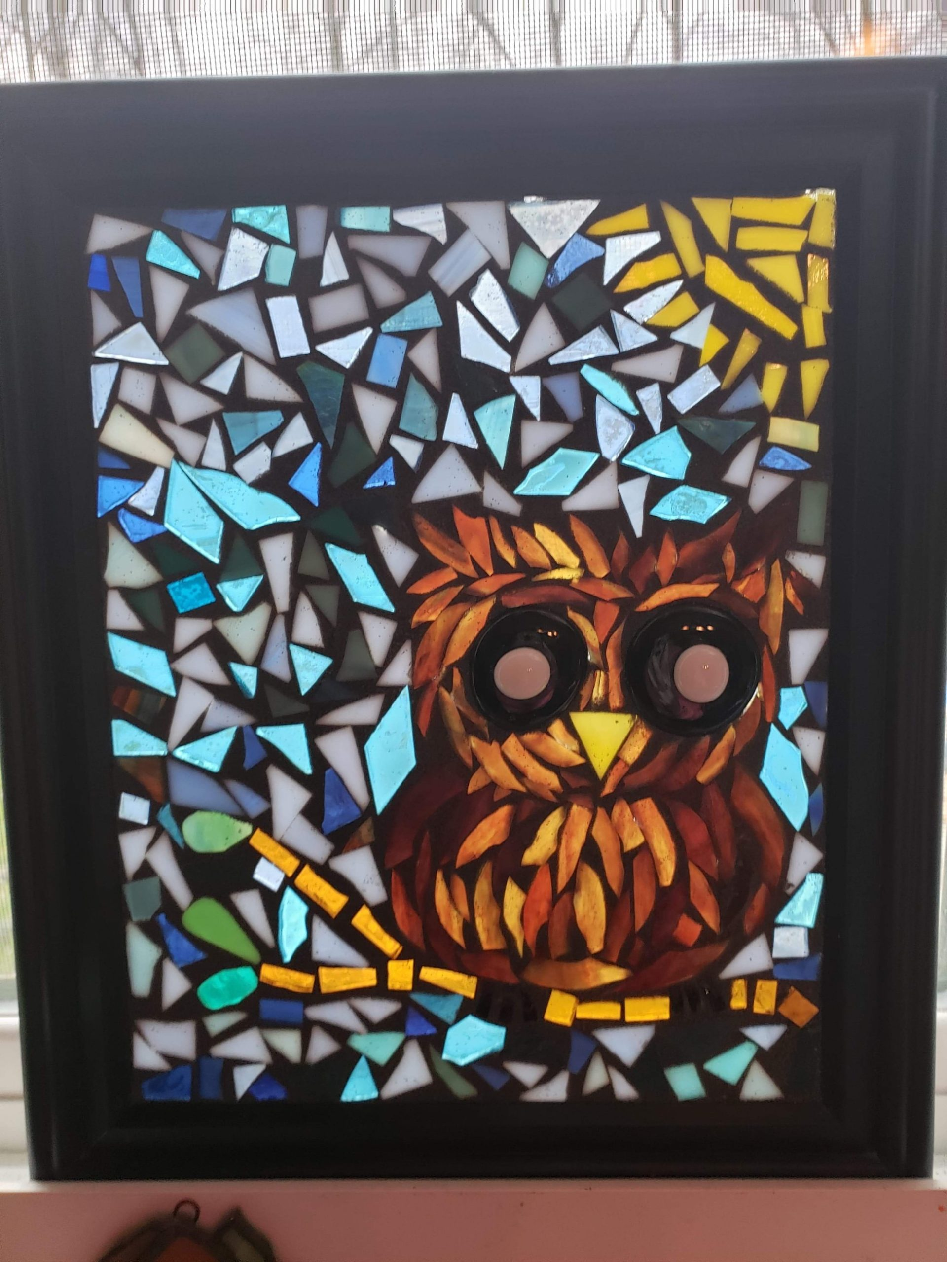 stained glass mosaic owl