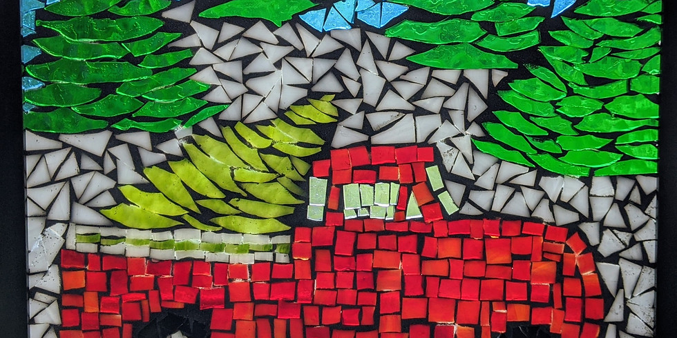 SOLD OUT- Mosaic Red Truck W/Tree- Arbutus
