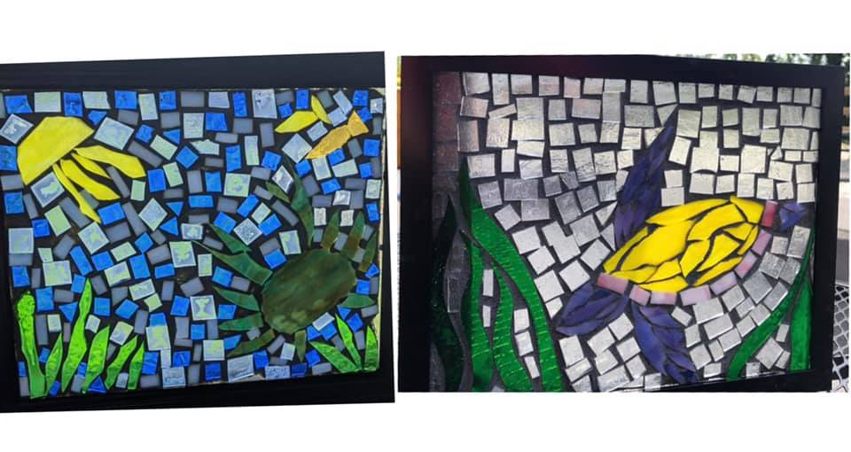 crab turtle glass mosaics