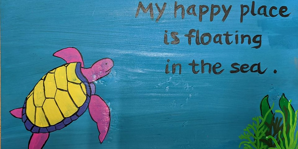 Sea Turtle My Happy Place Painting on Wood