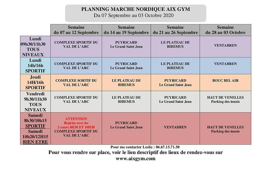 planning MARCHE NORDIQUE septembre 2020.