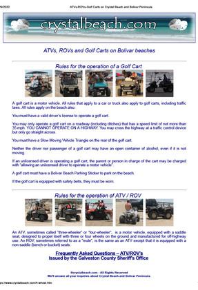 Golf Carts on Crystal Beach and Bolivar