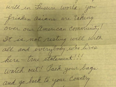 Seal Beach PD opens a hate crime inquiry after an Asian-American widow received a racist letter