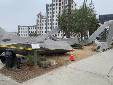 Public art piece 'The Loop' in DTLB destroyed after a car crash