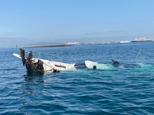 Boat Crashed into the LB Breakwater, 2 Passengers & 2 Dogs rescued, 3rd Dog Presumed Dead