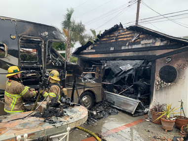 LB Firefighter assisted with a garage fire in Rossmoor