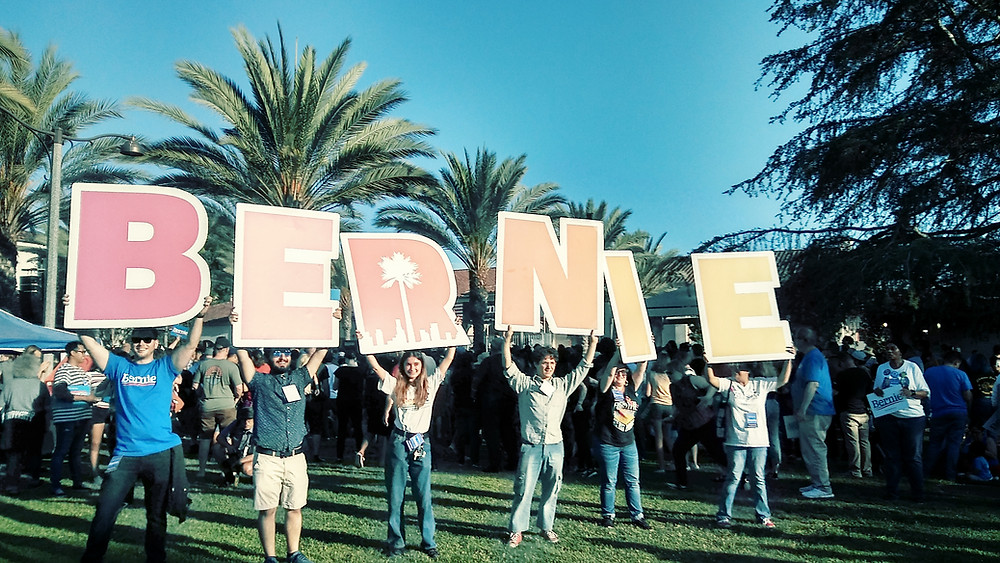 photo from Sanders' campaign rally in Long Beach