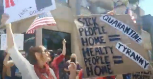 Image from Huntington Beach protest of Stay at Home Order