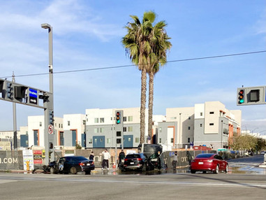 Car crashes into a traffic light & another into a water tank in Downtown Long Beach