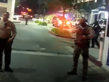 """Protesters yell """"We hope they die"""" outside of the hospital treating ambushed LASD deputies"""
