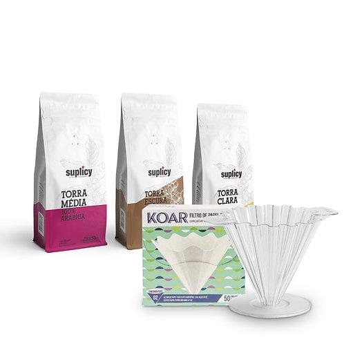 Coador Koar+ 3 packs de café especial Suplicy 250grs