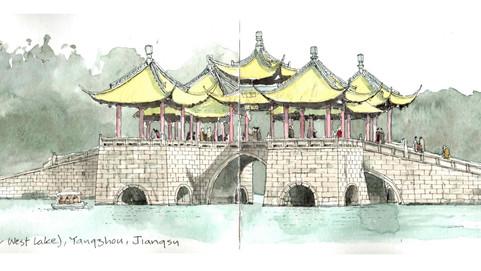 Five Pavillion Bridge, Yangzhou, Jiangsu