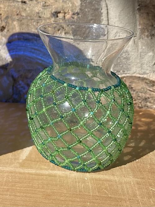 Mini green beaded vase