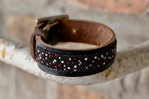 Black and Red Woven Delica Leather Cuff