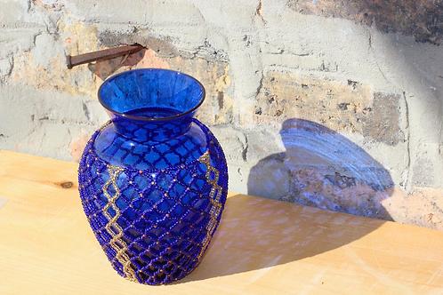 Beaded Blue Vase