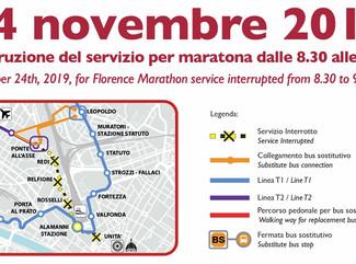 Firenze Marathon (24 Novembre), dalle 8.30 alle 9.30, linea T2 interrotta tra Unità e Ponte all'Asse