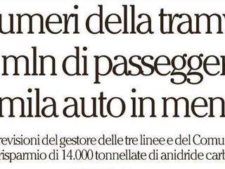 Tutti i numeri delle tre tramvie: 36 milioni di passeggeri