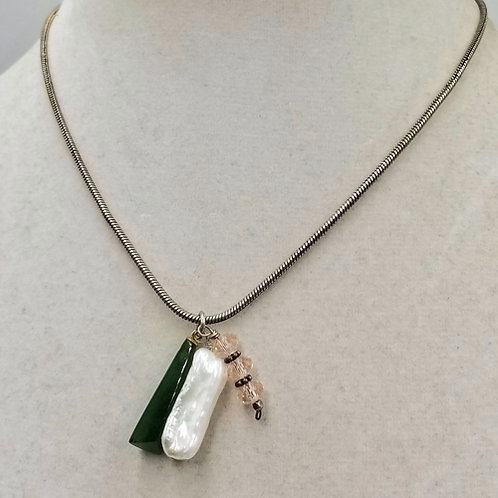Sterling Silver, Nephrite, Biwa Pearl, and Swarovski pendant necklace