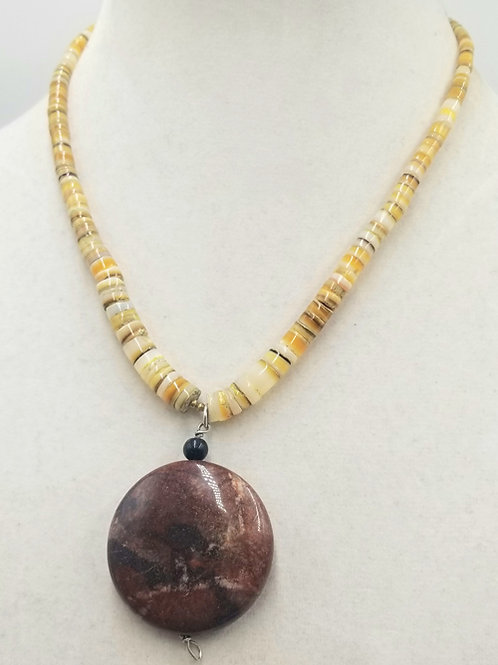 Heishi Shell and Jasper Pendant Necklace
