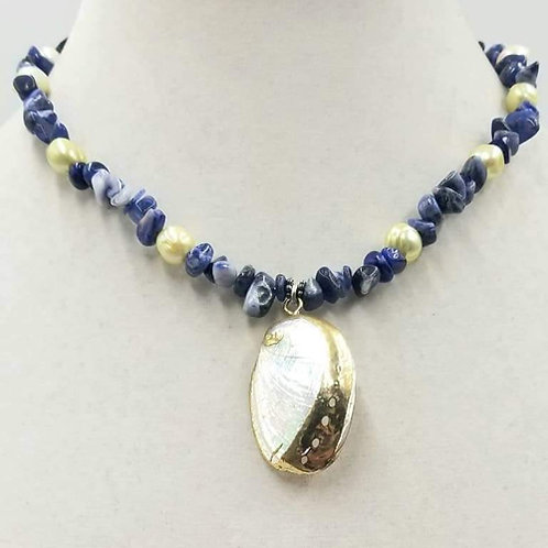 Sterling Silver, Sodalite, Pearl and Shell Necklace