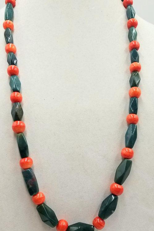 Sterling Silver, Bloodstone, Orange Calcite Necklace
