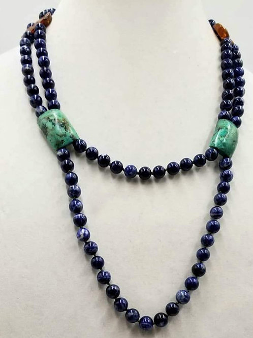 Double Strand Sodalite, Baltic Amber, and Turquoise 14kt Necklace