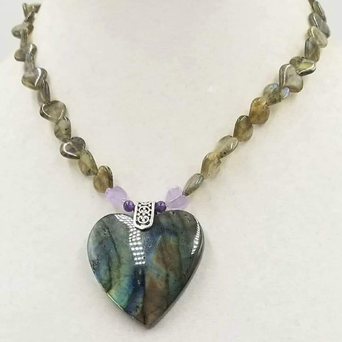 Sterling Silver, Labradorite, and Amethyst Necklace