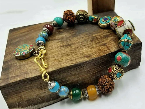 Bold, Multi-color, Multi-stone Dzi Anklet.