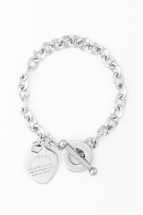 Kanika Heart & Cross Bracelet - Silver