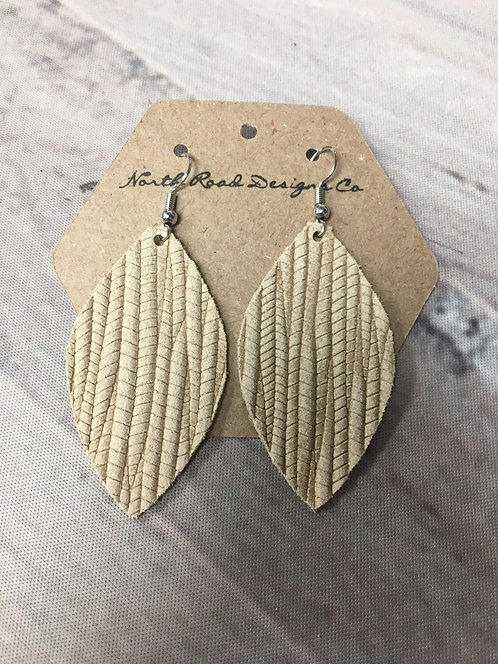 Beige Palm Leaf Earrings: North Road Designs