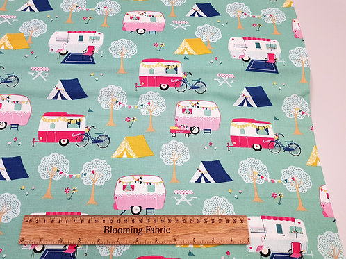 Camping fabric, camper van fabric, Mint outdoors fabric, adventure 100% cotton