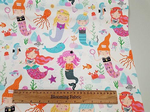 Mermaid fabric, Sea life fabric, Under the Sea fabric 100% woven cotton