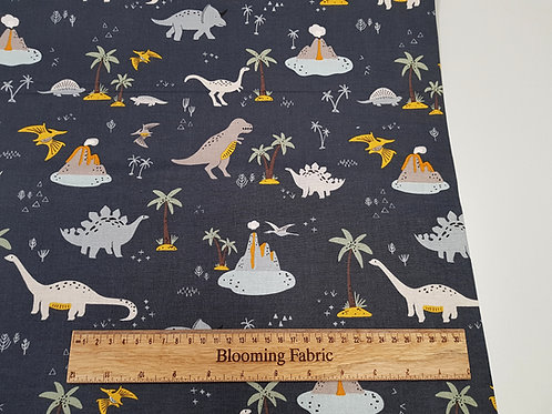 Navy Jurassic Dino Dinosaur Riley Blake Designs 100% Cotton Woven Fabric
