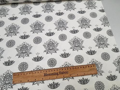 Lotus Flower fabric, Yoga Print, 100% cotton print