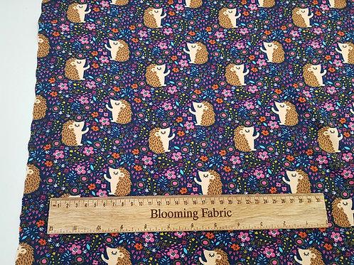 Navy hedgehog Cotton Jersey/Knit