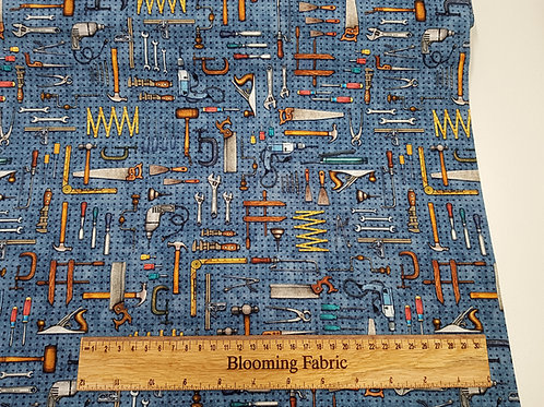 Tool fabric, Little Handy Tool Pegboard Blue 100% Cotton Woven Fabric