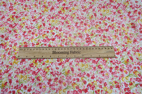 Red Floral fabric, small Flower print cotton, 100% cotton print