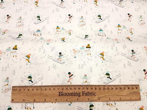 Winter fun mice fabric