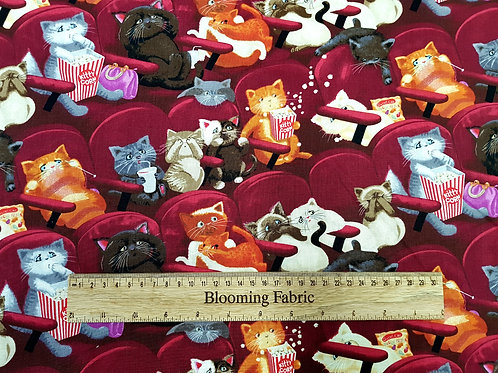 Cat fabric, Fun cats in cinema, Scary movie fabric, animal fabric