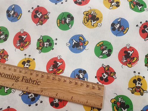 Cotton fabric, classic Mickey mouse fabric, vintage mickey fabric 100% cotton