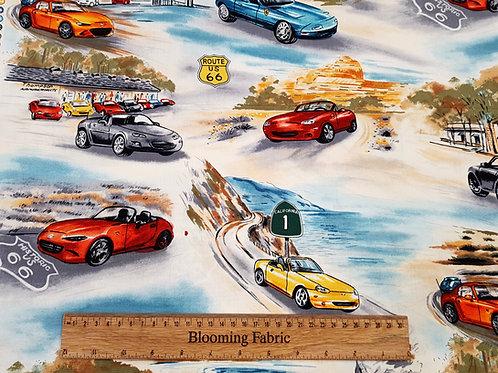 California  Car fabric,  Route 66, 100% cotton woven