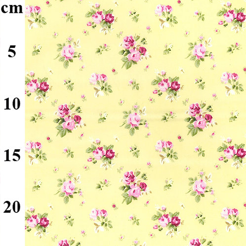 Yellow floral fabric, Flower print, 100% cotton poplin print, craft and clothing